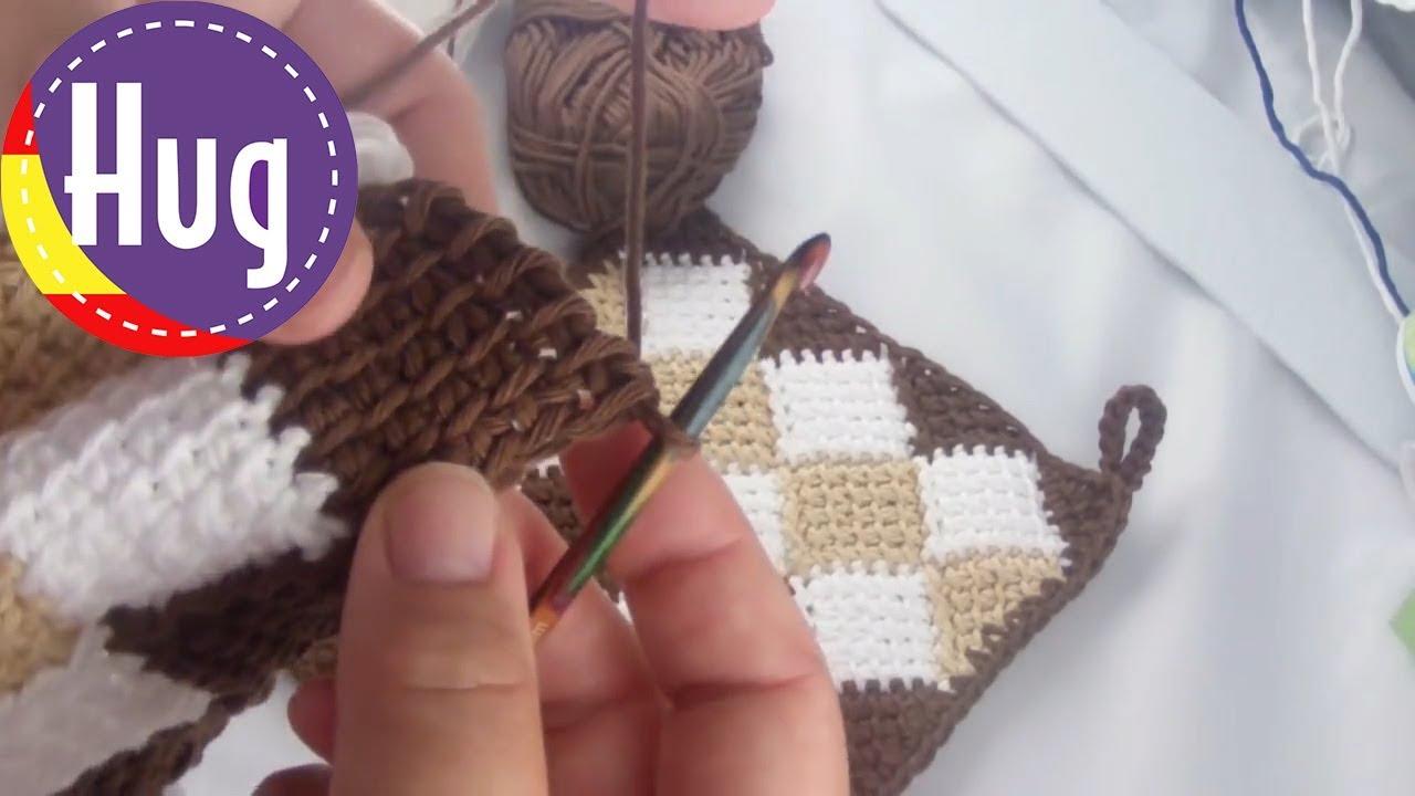 Crochet tunecino - Entrelac - Paño para el horno patrón básico ...