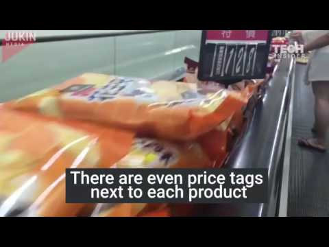 Most Satisfying Technology Science Video In The World-taiwan supermarket sell food on the escalator