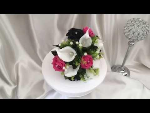 hot-pink-&-black-rose-&-large-white-calla-lily