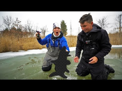 That's NOT a bass! (surprise while pond ice fishing)