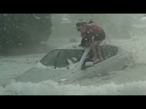 See dramatic rescue in hail storm flash flood
