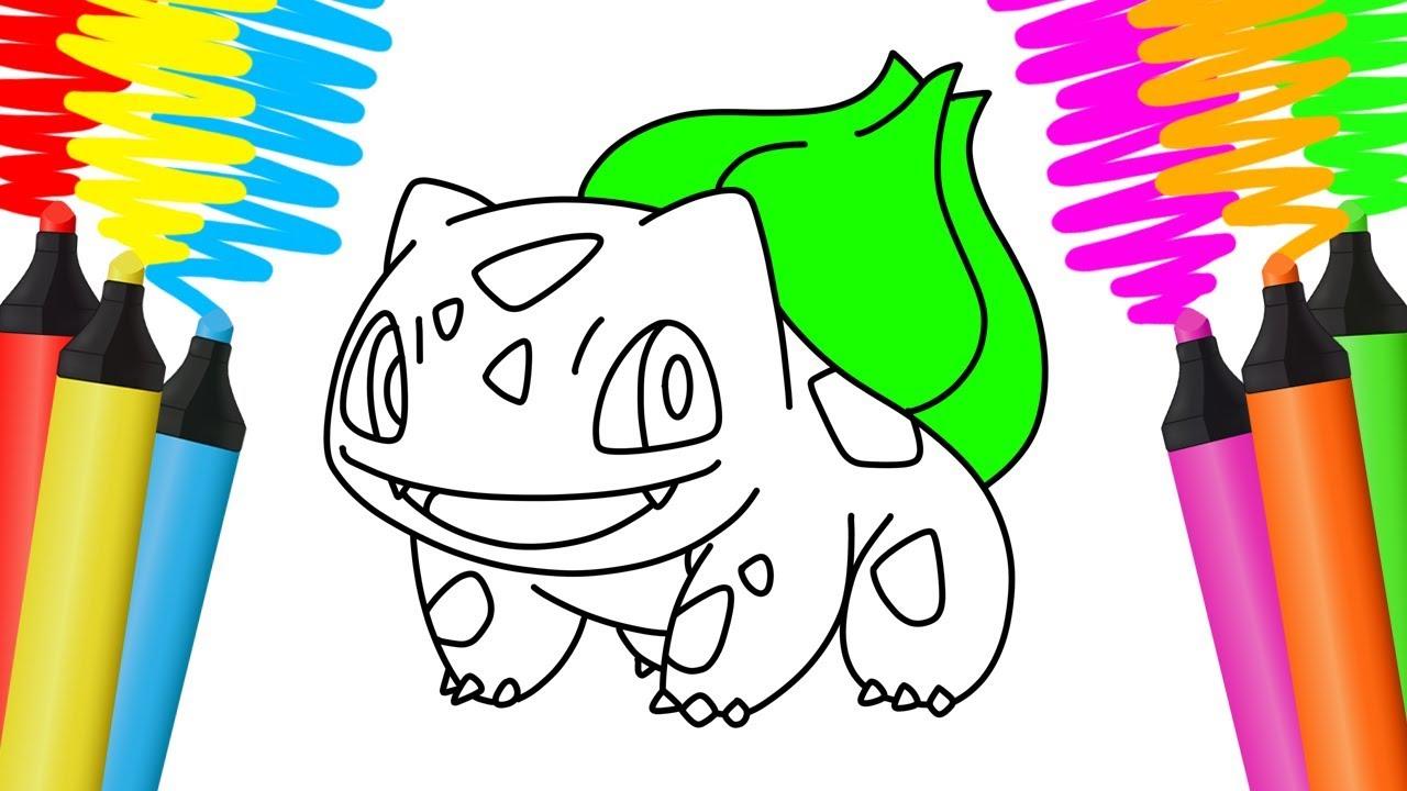 Como Desenhar E Colorir Bulbasaur Pokemon Pintar E Aprender Para