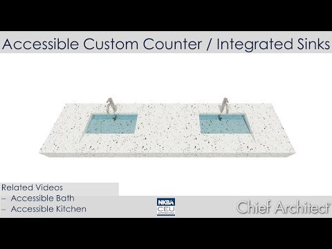 Accessible Bathroom Counter With Integrated Sinks