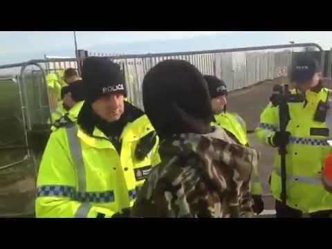 Jared ChokeSlamed - Smurf Arrested - Police Brutality @ Kiln Lane Fracking Site rig leaving 30/3/15