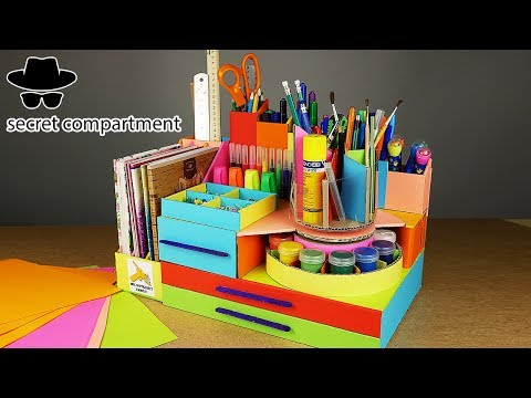 DIY DESKTOP Pencil ORGANIZER with SECRET COMPARTMENT from Cardboard!!