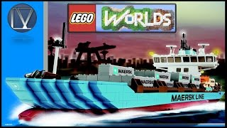 [Lego Worlds] Building Maersk Line Container Ship