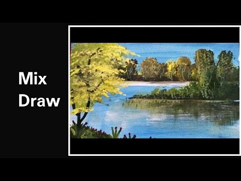 Green spring sketch Acrylic painting | How to draw green spring painting