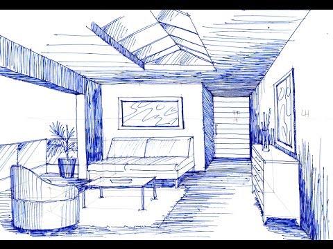 Como dibujar en perspectiva un espacio con 1 punto de fuga for Cocina definicion arquitectura