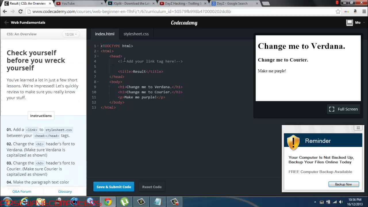 HTML and CSS Training with Codecademy Class 1.3 - YouTube