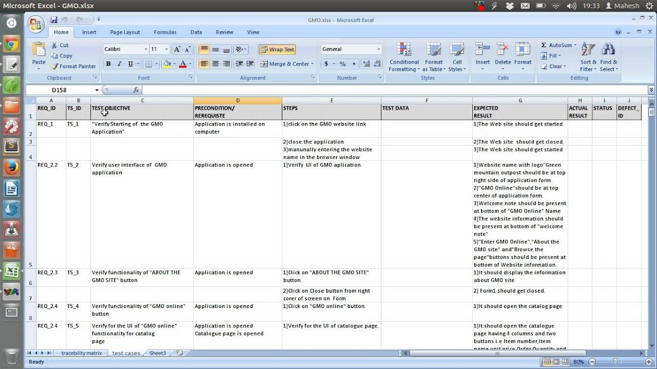 Sample Test Case Template Document Excel - YouTube