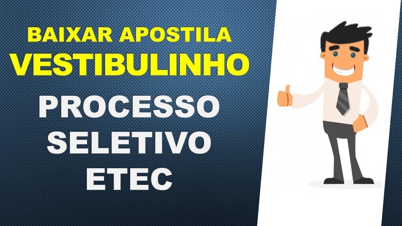 PROVAS ETEC VESTIBULINHO BAIXAR DO