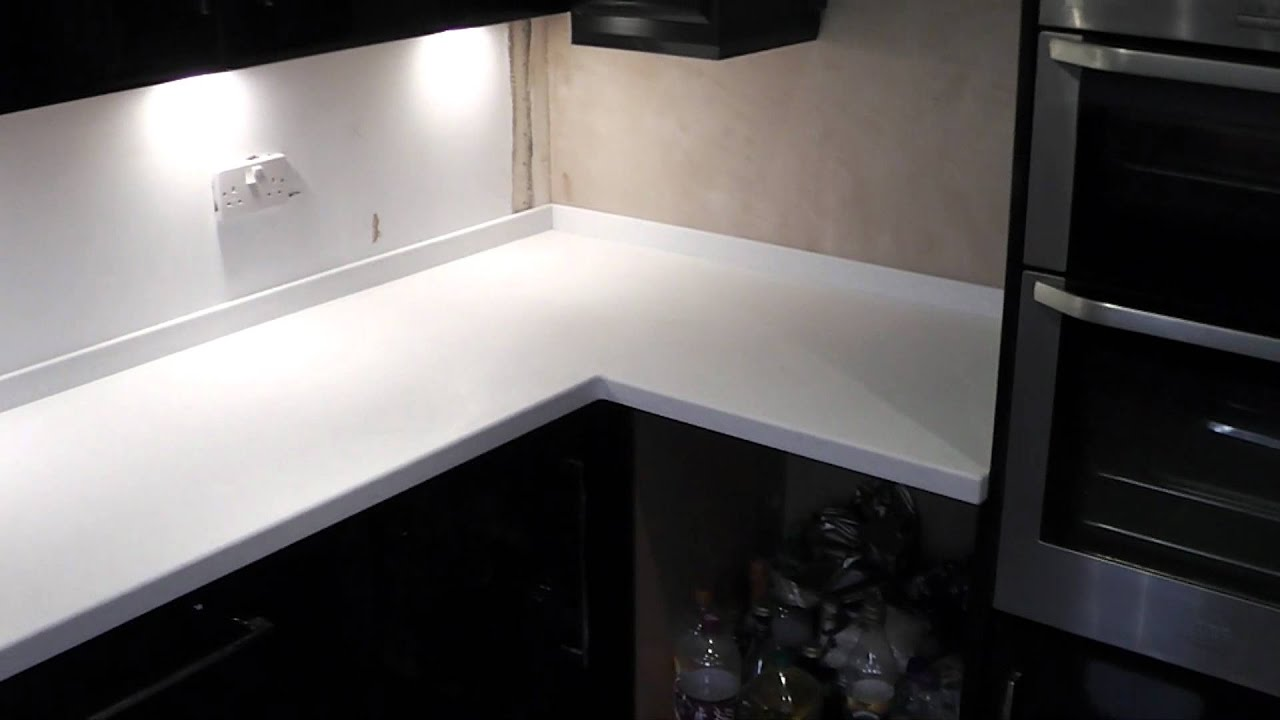 Corian Kitchen Worktops >> Hanex worktops 'Silverstone'. by Prestige Work Surfaces, Alternative to Corian Everest - YouTube