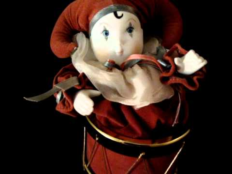 1989 Porcelain Jester In Drum Animated Music Box San Francisco Music Box Company