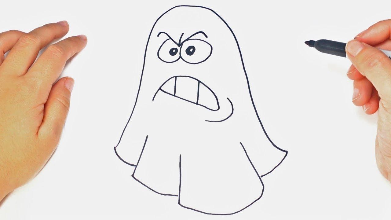 Cómo Dibujar Un Fantasma Paso A Paso Dibujo Fácil De Fantasma