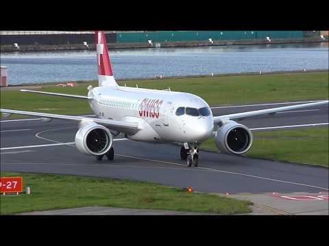 Swiss CS100 London City Airport. Complete turnaround