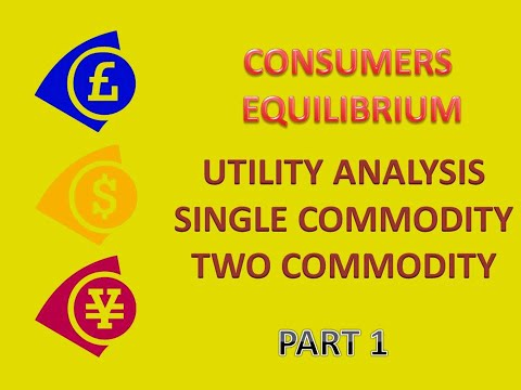 Consumers Equilibrium 1. Utility Analysis-one and two commodity case