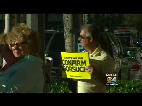 Confirm Gorsuch Protesters Gather Out Sen  Bill Nelson