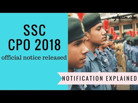 SSC CPO 2018 Complete Notification Explained in Hindi