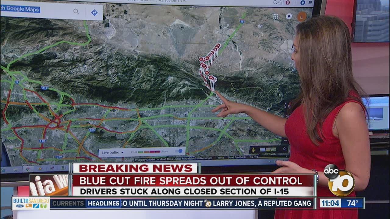 Blue Cut Fire Shuts Down Interstate 15 Youtube