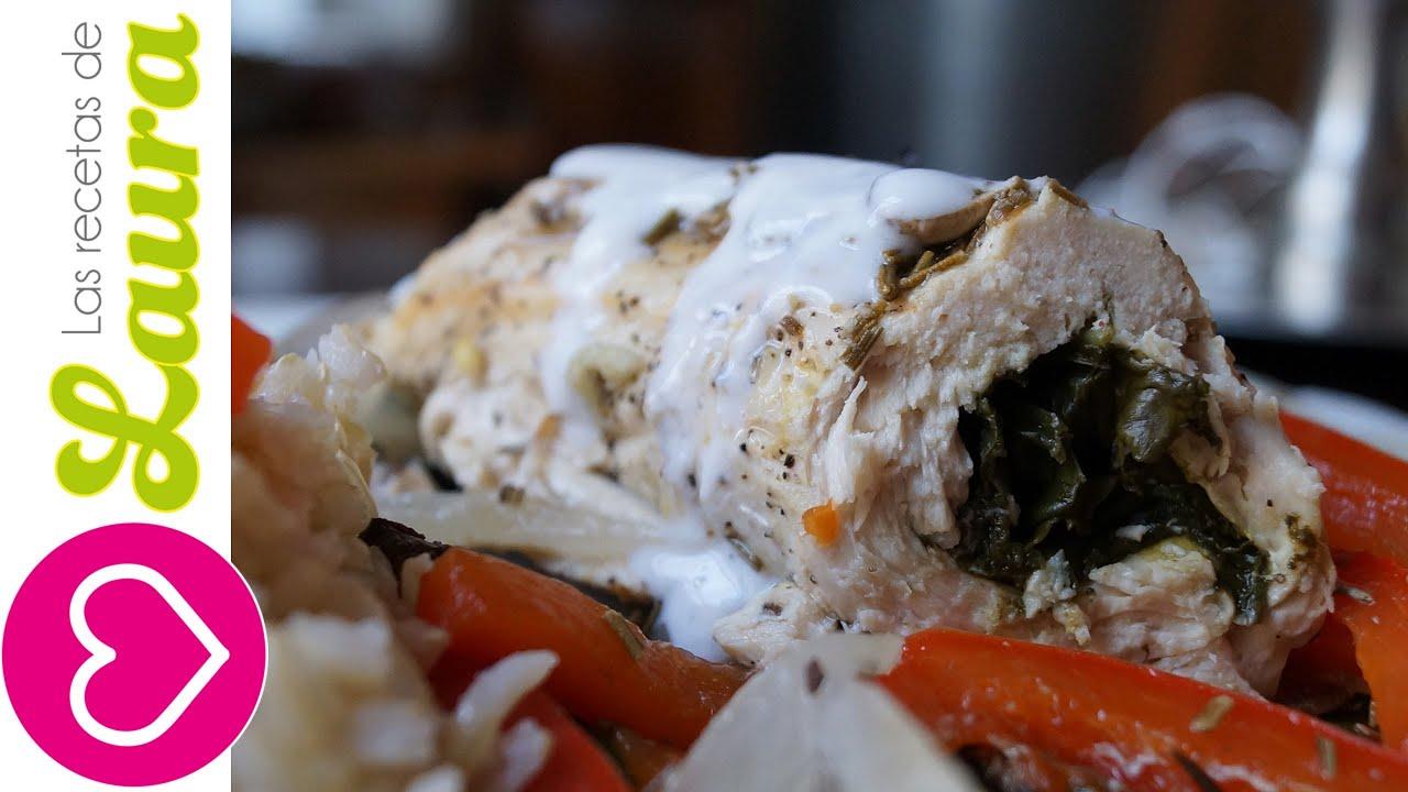Como hacer pechugas de pollo rellenas comida saludable youtube - Como cocinar pechuga de pollo ...