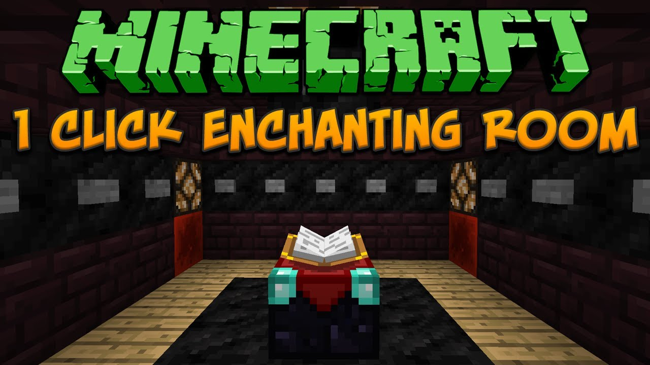 Minecraft 1 Click Enchanting Room Tutorial Youtube