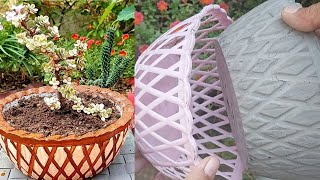 Casting cement pot from plastic basket at home easily | Cement pots