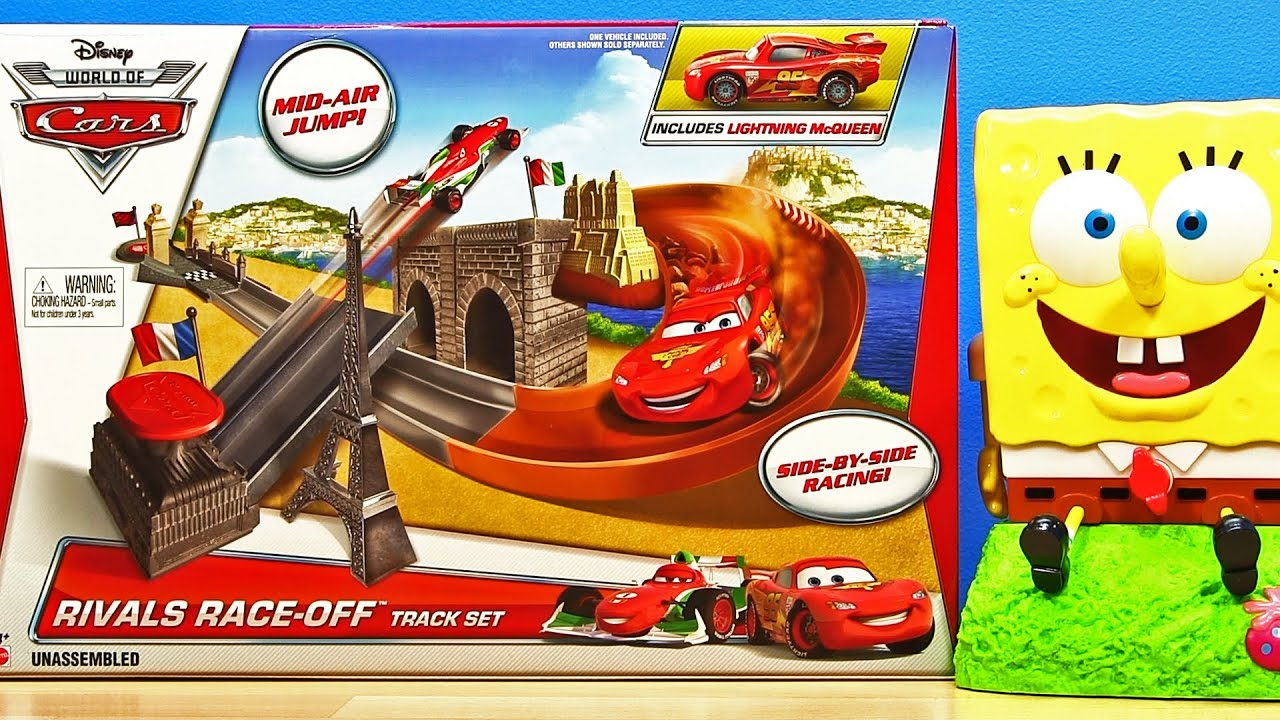 Cars 2 rivals race off play set with lightning mcqueen mattel disney