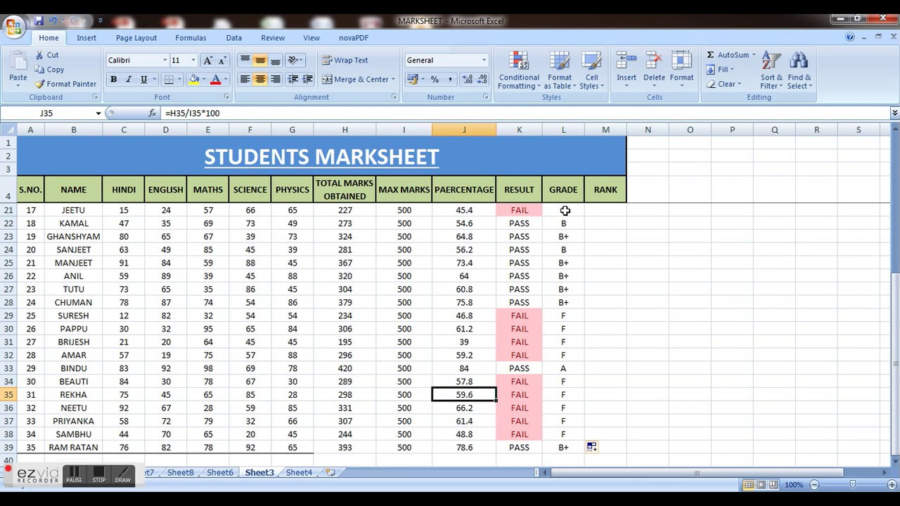how to make student marksheet in ms excel i result rank
