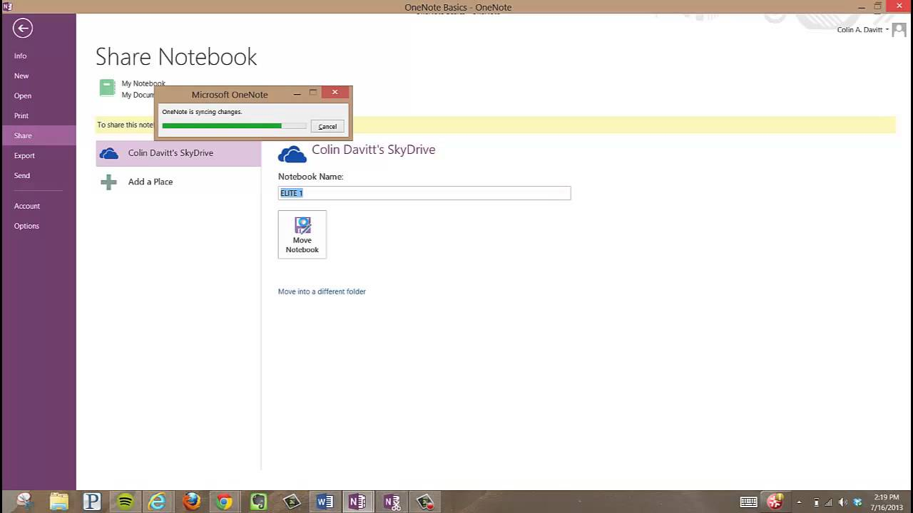 Backing up and sharing your OneNote notes