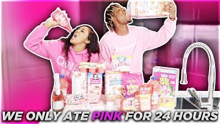 We Only Ate PINK Food For 24 HOURS!!! (IMPOSSIBLE CHALLENGE)