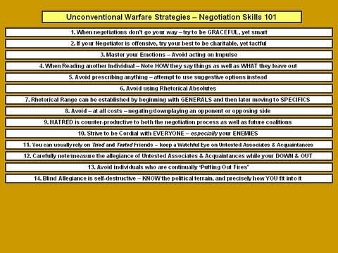 Unconventional Warfare Strategies - Negotiation Skills 101