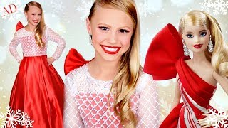 Holiday Barbie in Real Life! Barbie Creates Christmas List and Christmas Dress up Play!