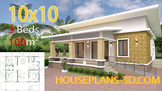 House design Plans 10x10 with 3 bedrooms Full Interior Plans