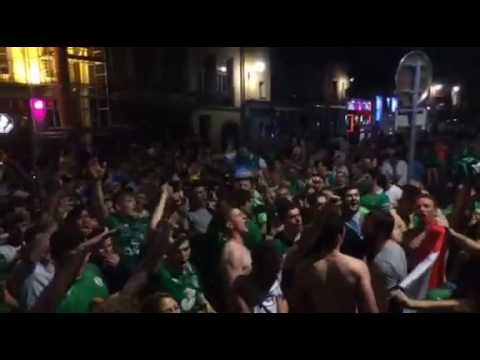 Irish fans on the streets of Lyon sing Amhrán na bhFiann