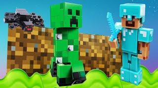 Стив Майнкрафт в видео сборнике - Ловушки, битвы и мобы Minecraft! - Обзор игры для мальчиков.
