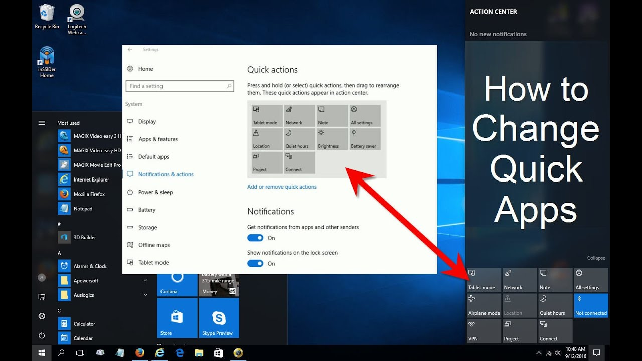Windows 10 Action Center Customized - Windows 10 tips and tricks