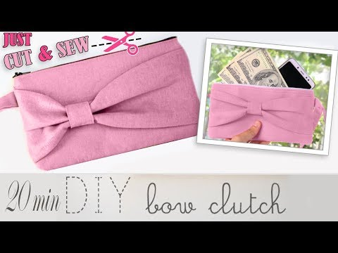 DIY CUTE BOW PURSE BAG 20 MIN CUT AND SEW MAKING // Zipper Club Clutch Bag Fast Making