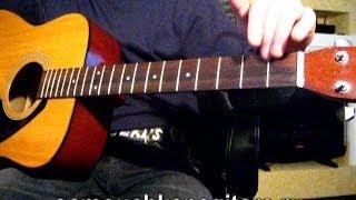 Как опустить струны на акустической гитаре, если вклеенный гриф(Подробный разбор на сайте http://samouchkanagitare.ru/?p=4356 guitar lessons http://www.youtube.com/user/alla5326., 2014-02-27T15:29:03.000Z)