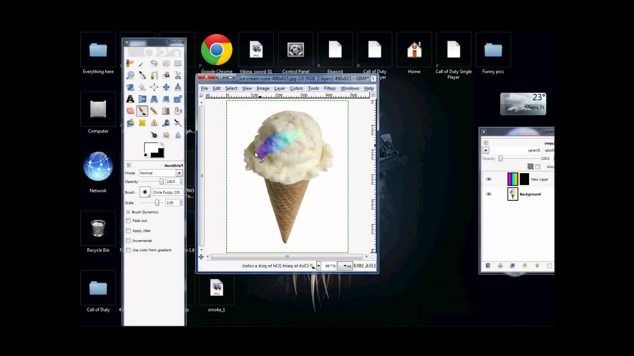 Drawing Lines Using Gimp : Making a rainbow ice cream on gimp youtube