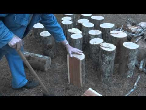 Splitting Firewood with a splitting maul