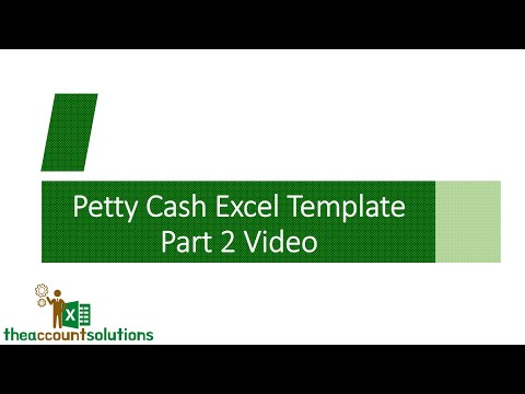 How To Analyze Petty Cash With Excel Petty Cash Template 1 Video