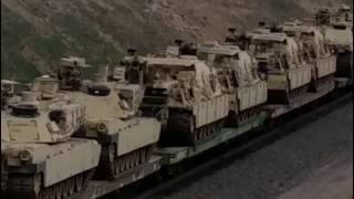 Military Convoy Crossing Into Oregon from Washington State, Tanks On Train