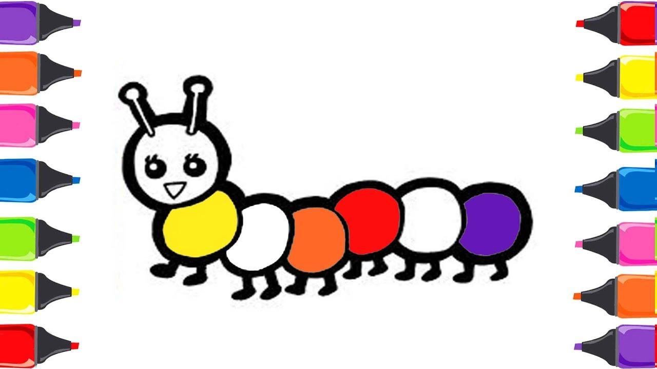Tırtıl Boyama Hayvanları öğreniyorum Renkler Türkçe Youtube