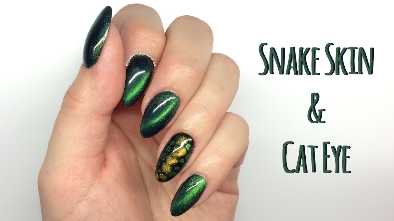 Cat Eye & Snake Skin Nail Art Tutorial || My Wonderland - Cat Eye & Snake Skin Nail Art Tutorial |My Wonderland - YouTube