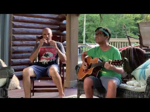 Log Cabin Porch Jam: Strumming A Recording King RP2-626-c With A Harmonica Player