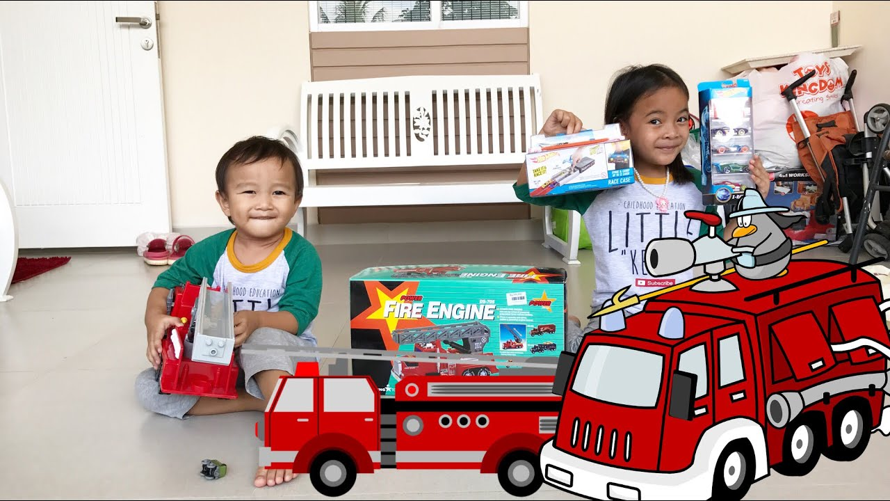 Kenzo main Mobil Mobilan Pemadam Kebakaran | Fire Engine Truck for Children