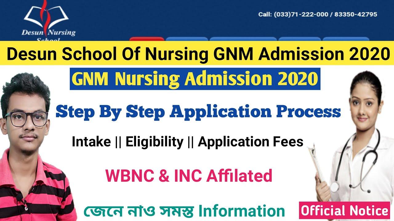 Desun Nursing School Admission 2020 Gnm Admission 2020 In Private College Gnm Wbnc Inc Youtube