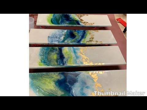Resin Art - epoxy / Painting on wood  #gold