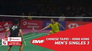 Thomas Cup MS3 HSU Jen Hao TPE vs HU Yun HKG BWF 2018
