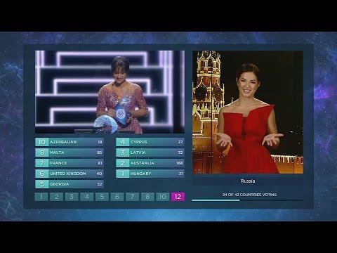 Нюша объявляет  результаты голосования Российского жюри конкурса «Евровидение-2016»!